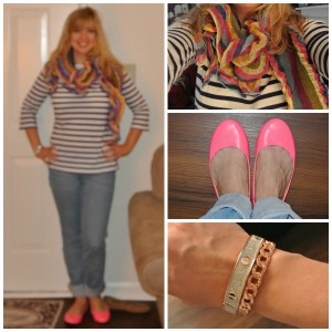Striped scarf, neon shoes
