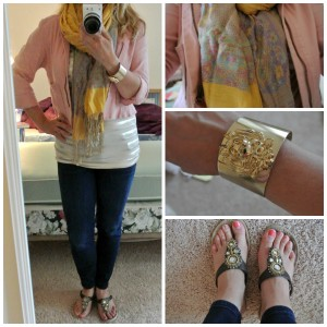 1- Coral jacket yellow scarf