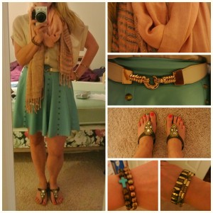 1- Peach scarf blue skirt