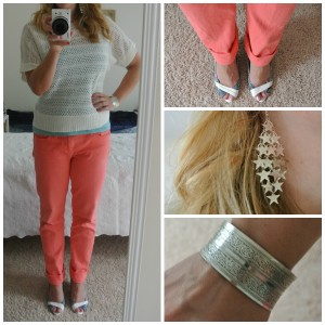 1 - Coral jeans, white sweater