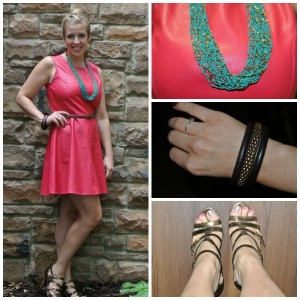 1 - Pink leather dress, teal necklace