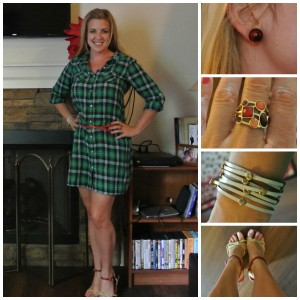 1 - Plaid shirtdress, red ankle straps