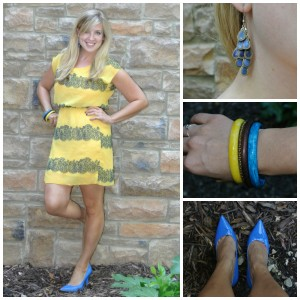 1 - blue shoes, yellow dress