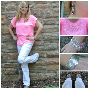 1 - neon pink shirt, white jeans