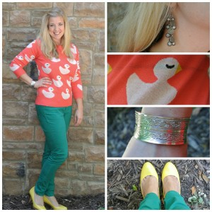 1 - Duck sweater, green jeans