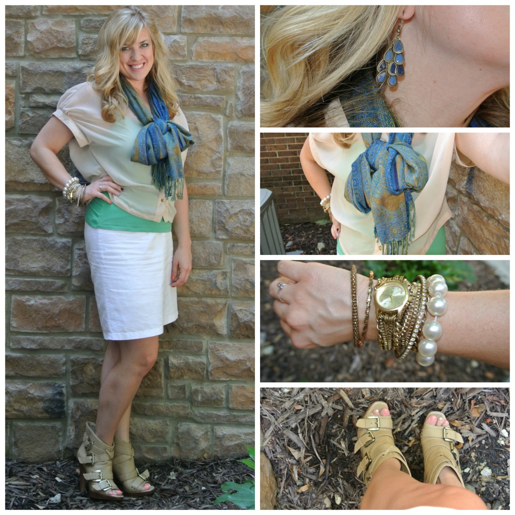 1 - bow scarf, ankle boots