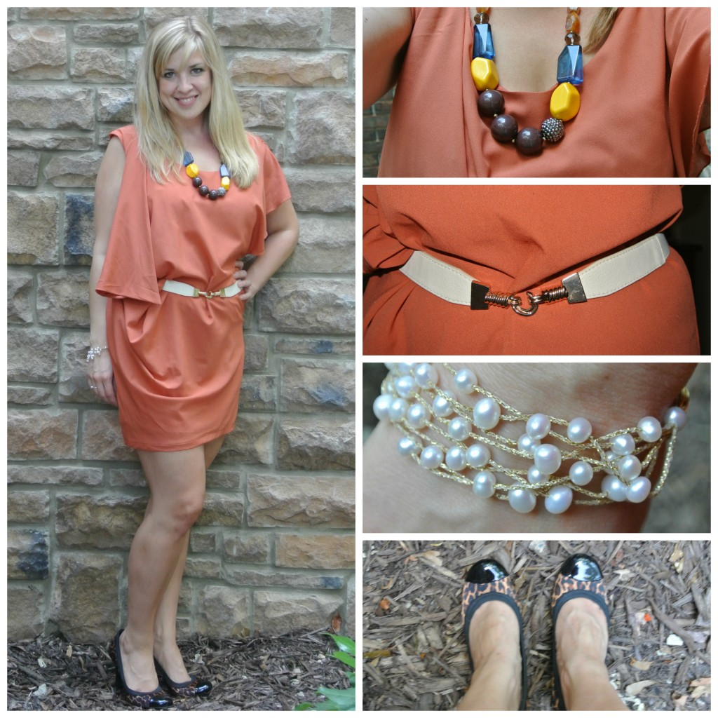1 - burnt orange dress, leapord shoes