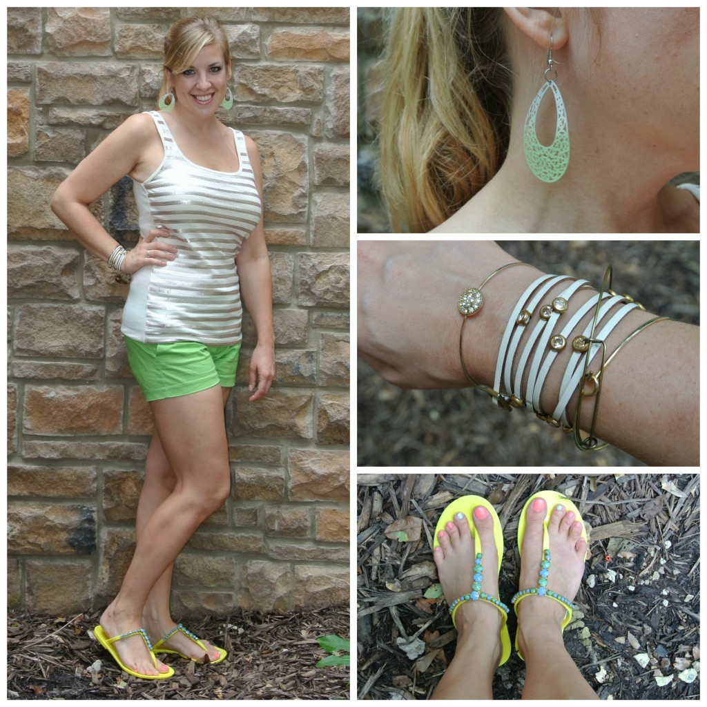 1 - lime shorts, sequin tank