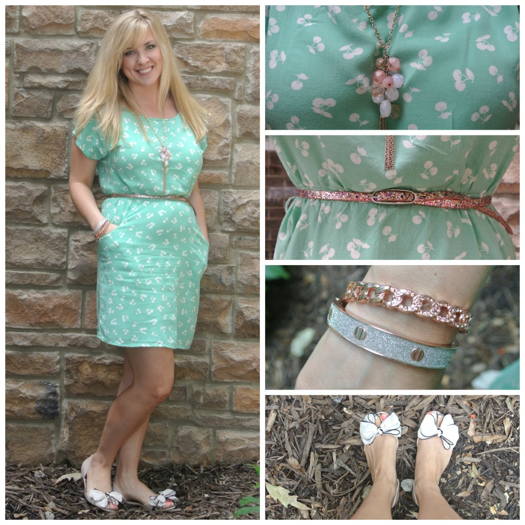 1- mint cherry dress, bow flats