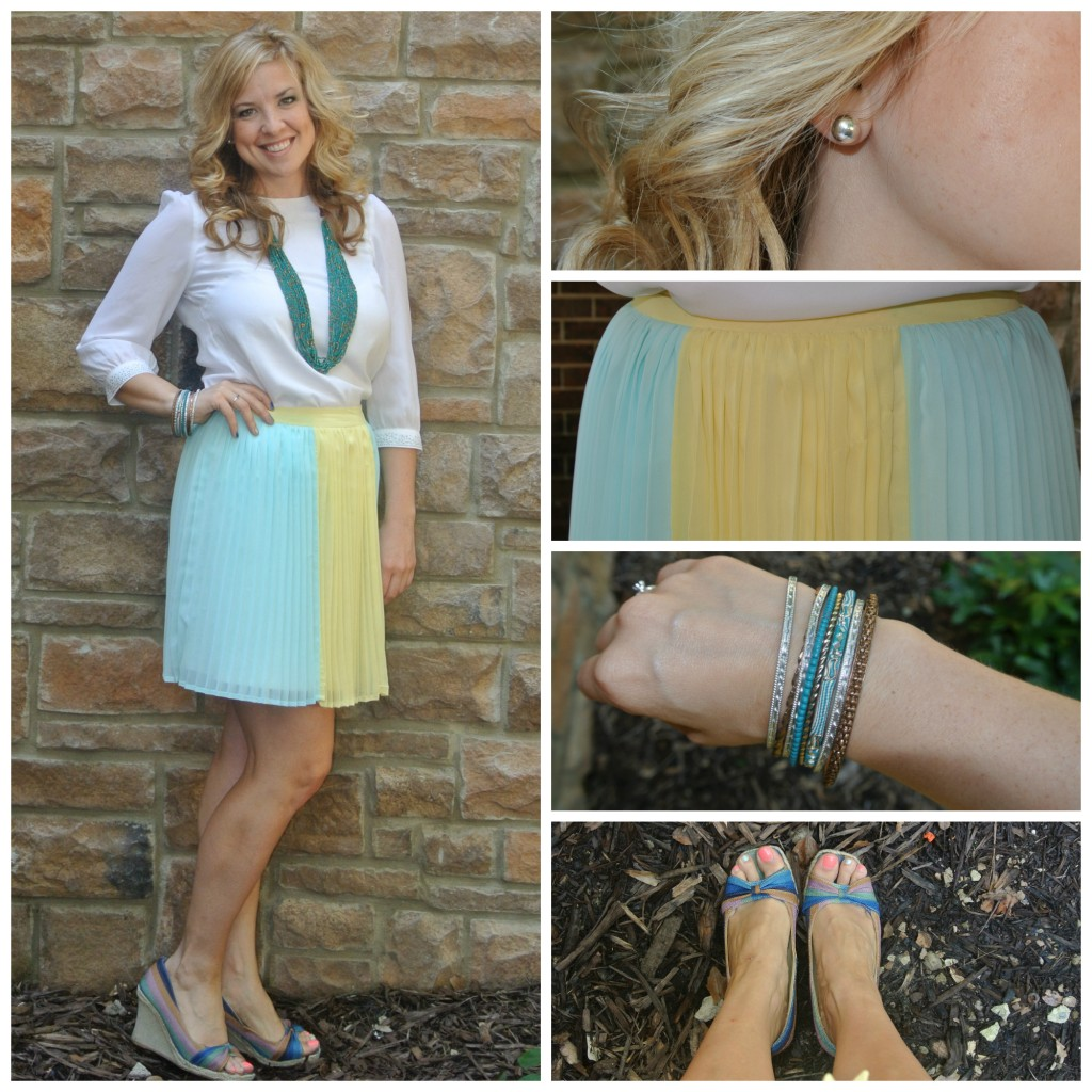 1 - pleated skirt, turquoise necklace