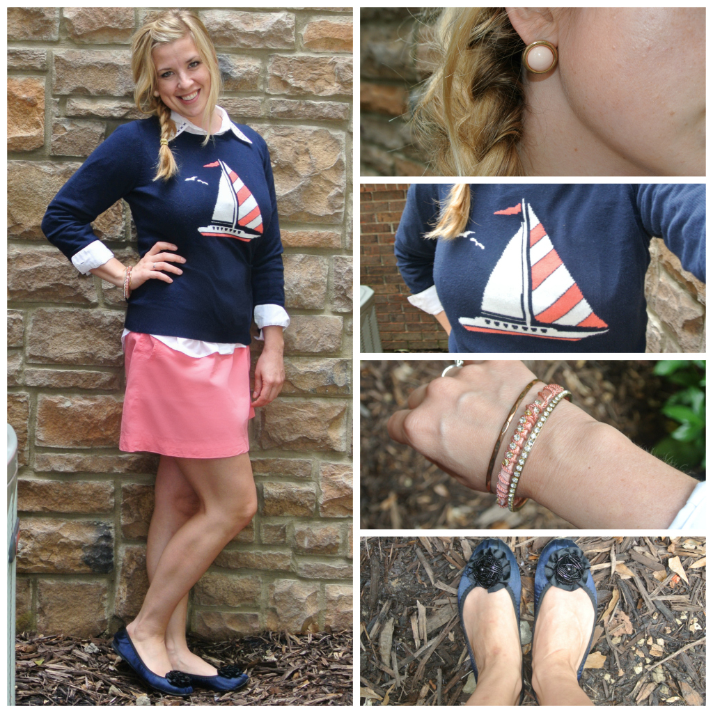 1- nautical sweater, coral skirt