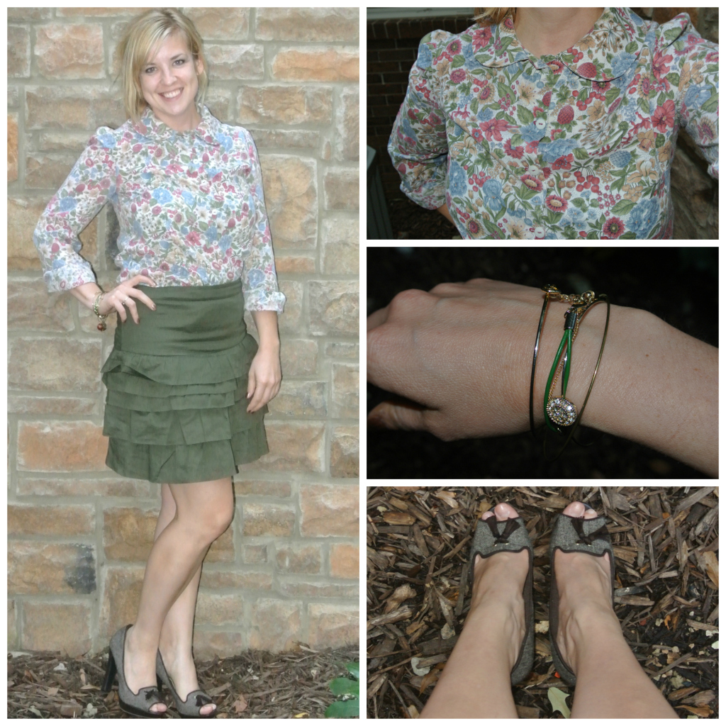 1 - peter pan collar, green skirt