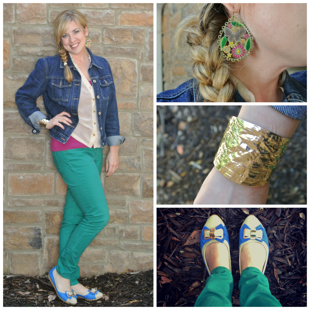1 - denim jacket, green jeans