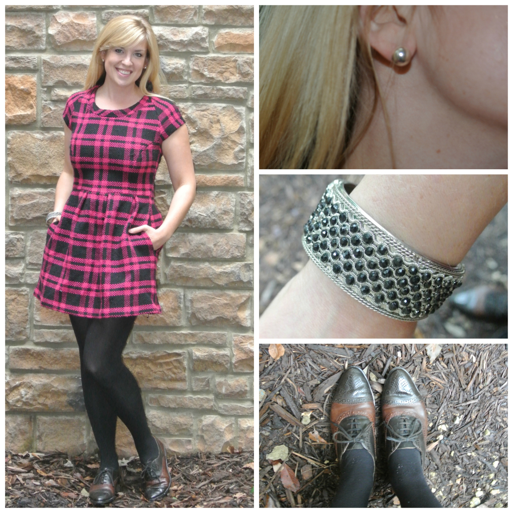 1 - pink plaid dress, oxfords