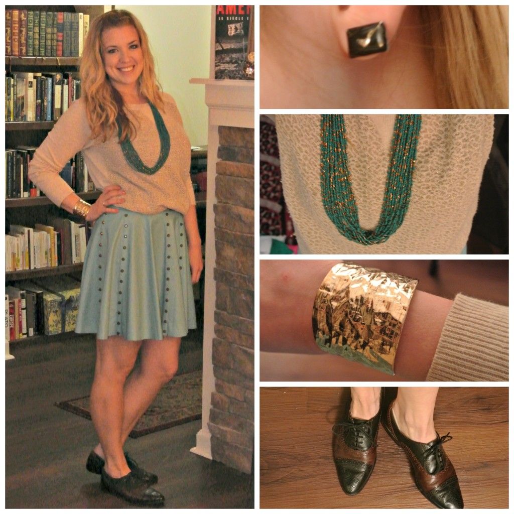 1 - blue leather skirt, gold sweater