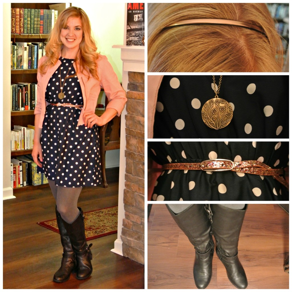1 - navy polka dots and peach jacket