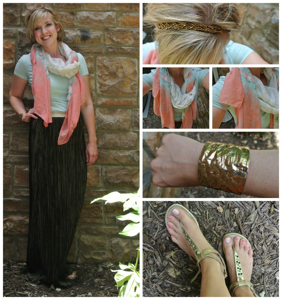 1 - gold maxi, coral scarf