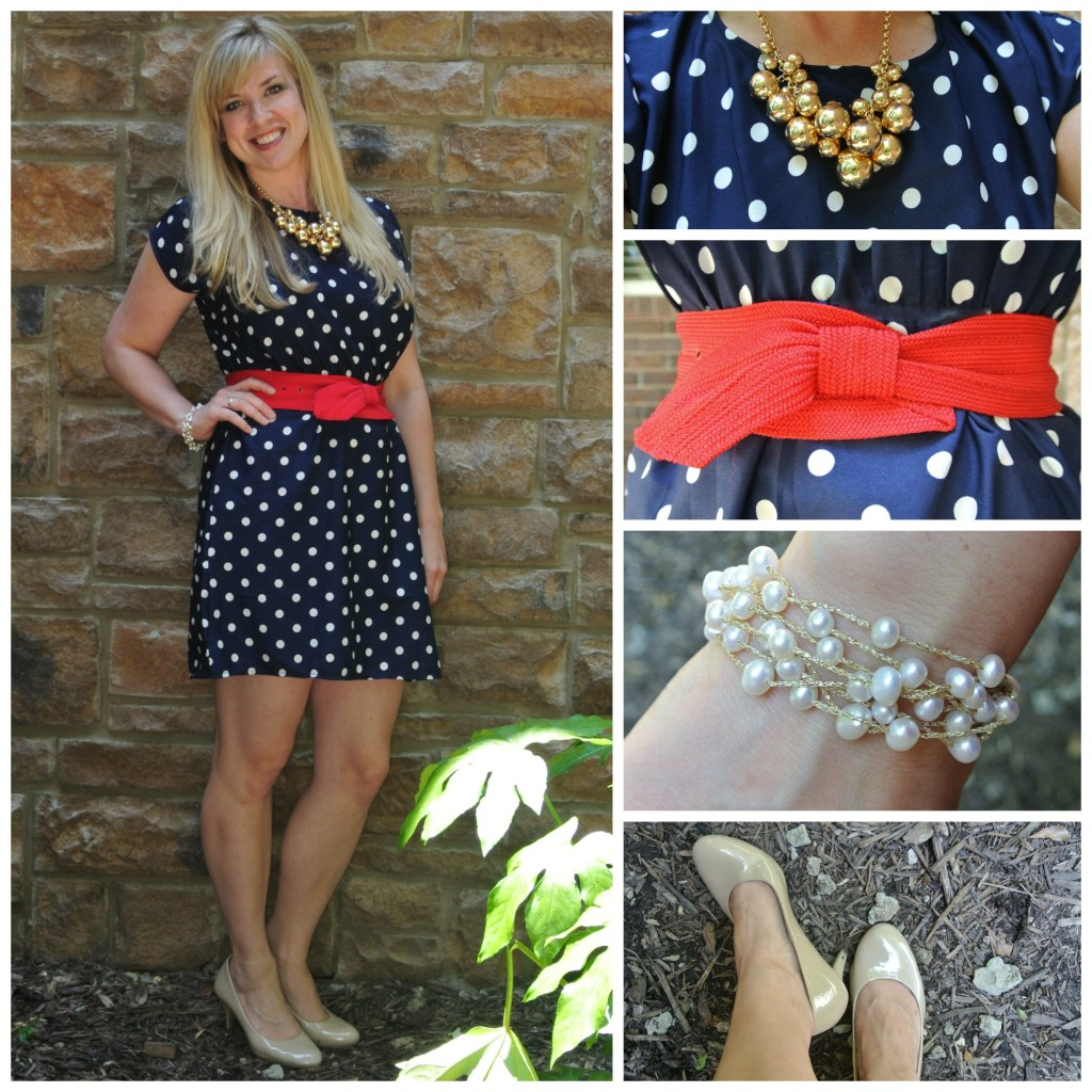 1 - polka dots, red bow belt