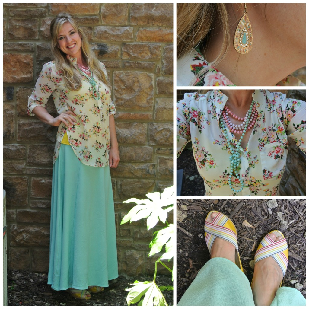 1 - turquoise maxi, floral blouse