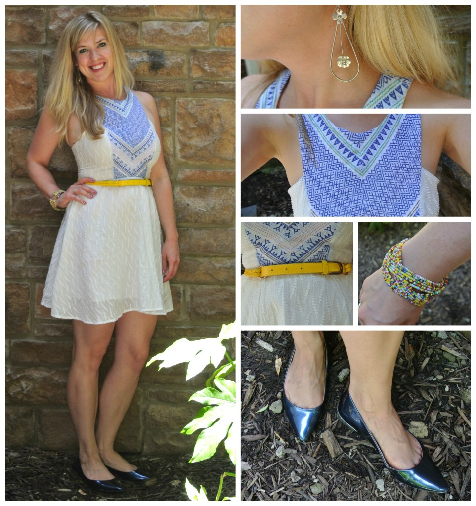 1 - white summer dress, navy flats