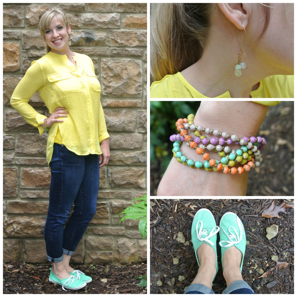 1 - yellow blouse, green shoes
