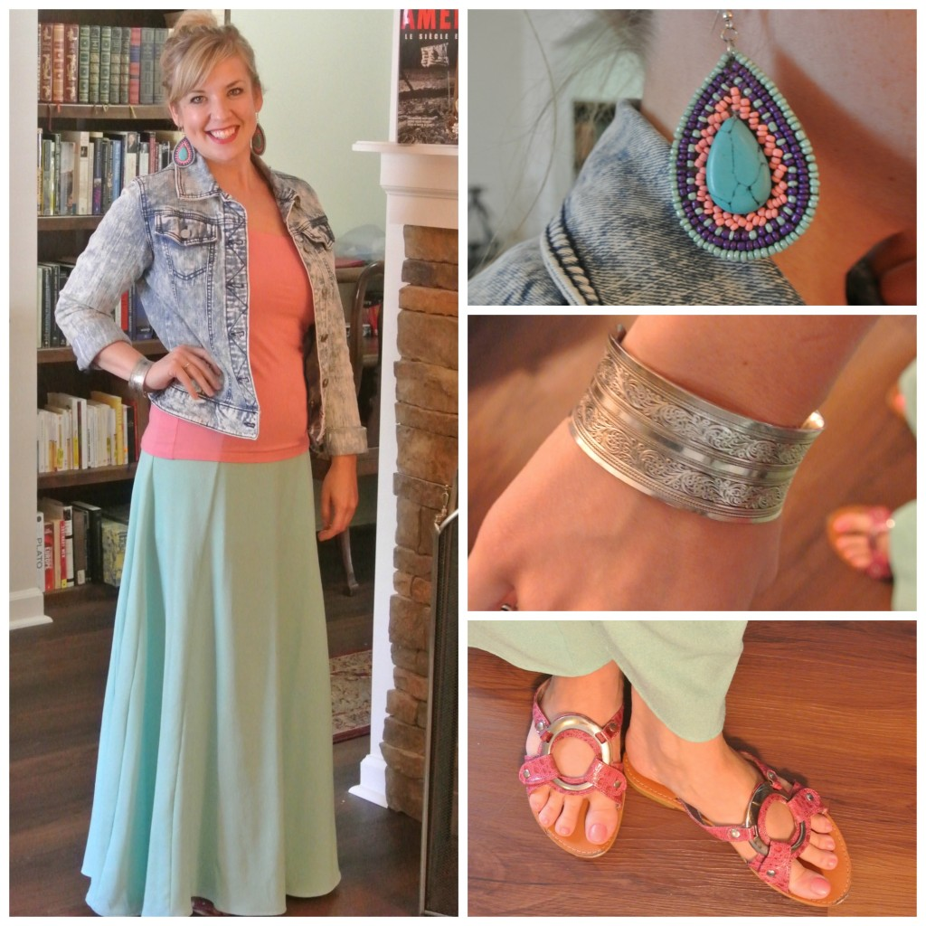 1 - denim jacket, mint maxi