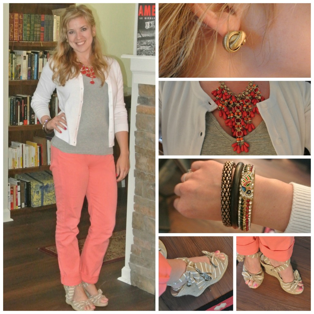 1 - coral jeans, ankle wrap wedges