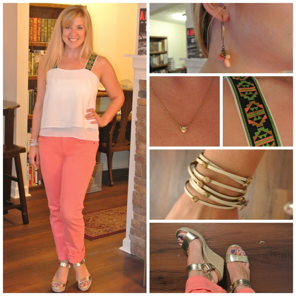 1 - coral jeans, white blouse