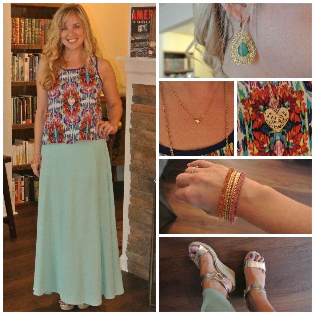 1 - multi colored tank, turquoise skirt
