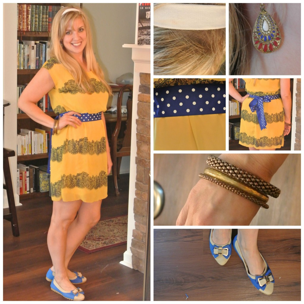 1 - yellow dress, polka dot belt