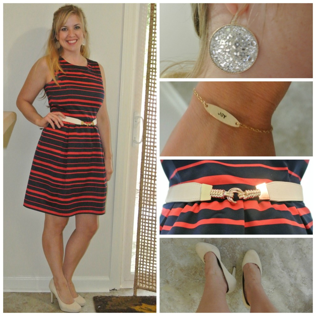 1 - red and navy dress, nude pumps