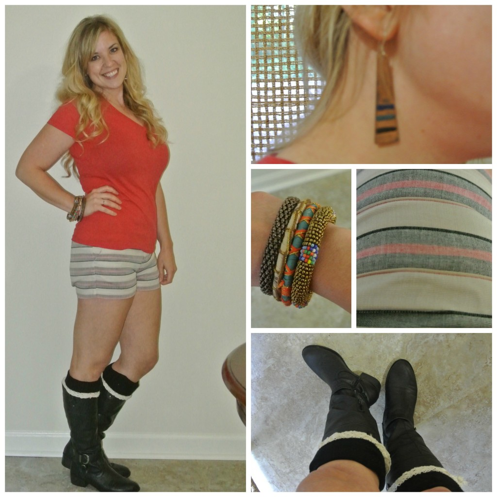 1 - red tee, shorts, boots