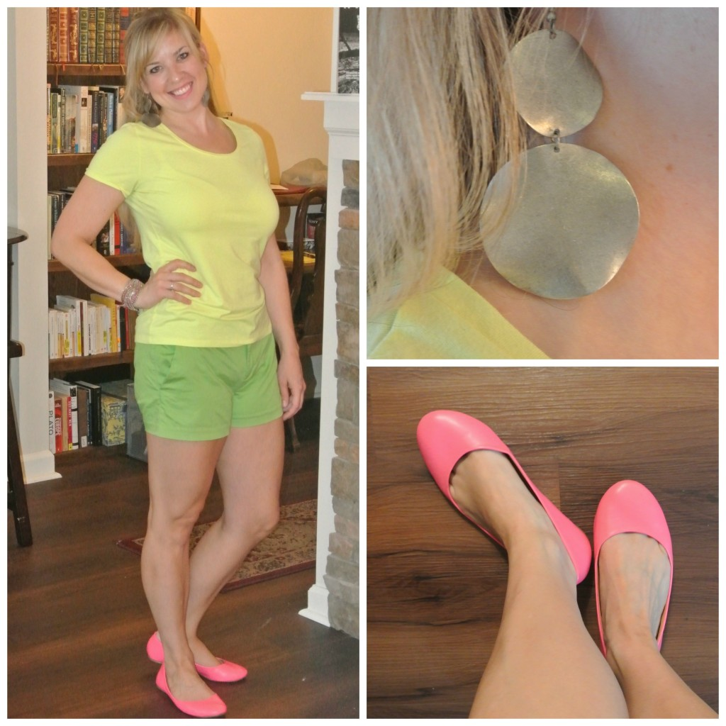 1 - yellow tee, green shorts, pink shoes