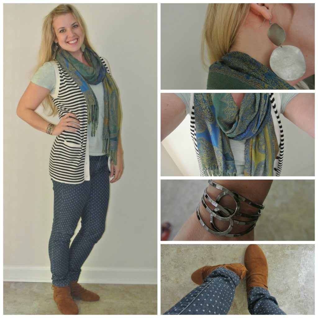 1 - scarf, stripes, polka dots