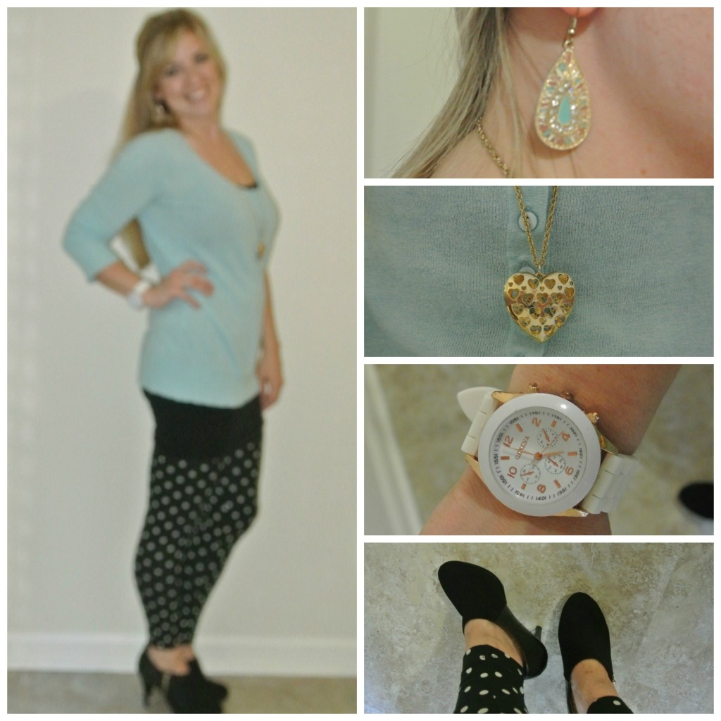 1 - turquoise and polka dot leggings