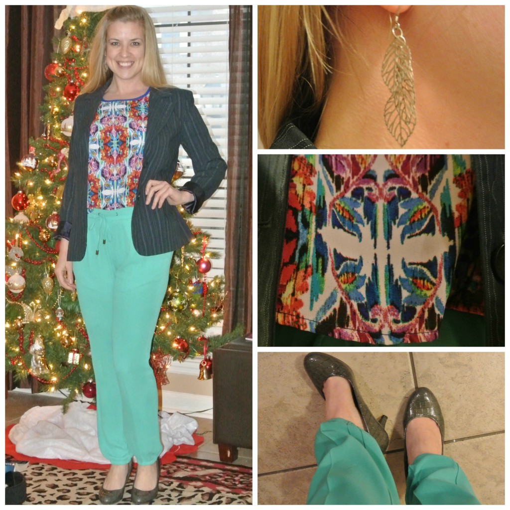 1 - tribal print, green pants