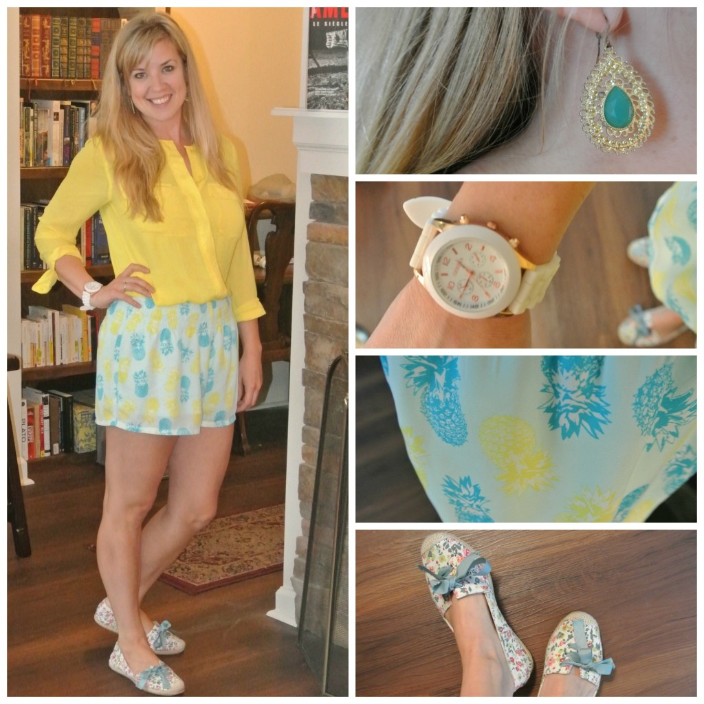 1 - pineapple shorts, yellow shirt
