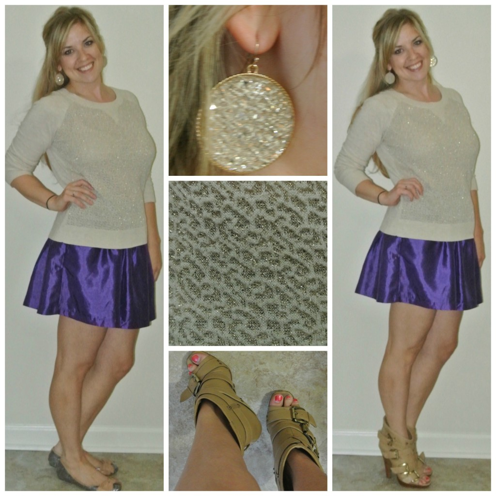 1 - purple skirt, flats, heels