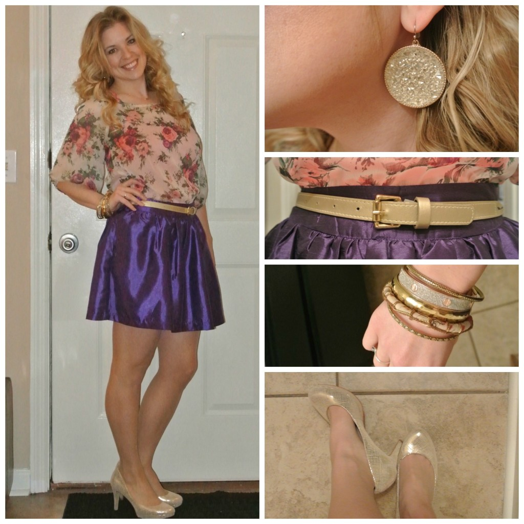 1 - purple skirt, floral top