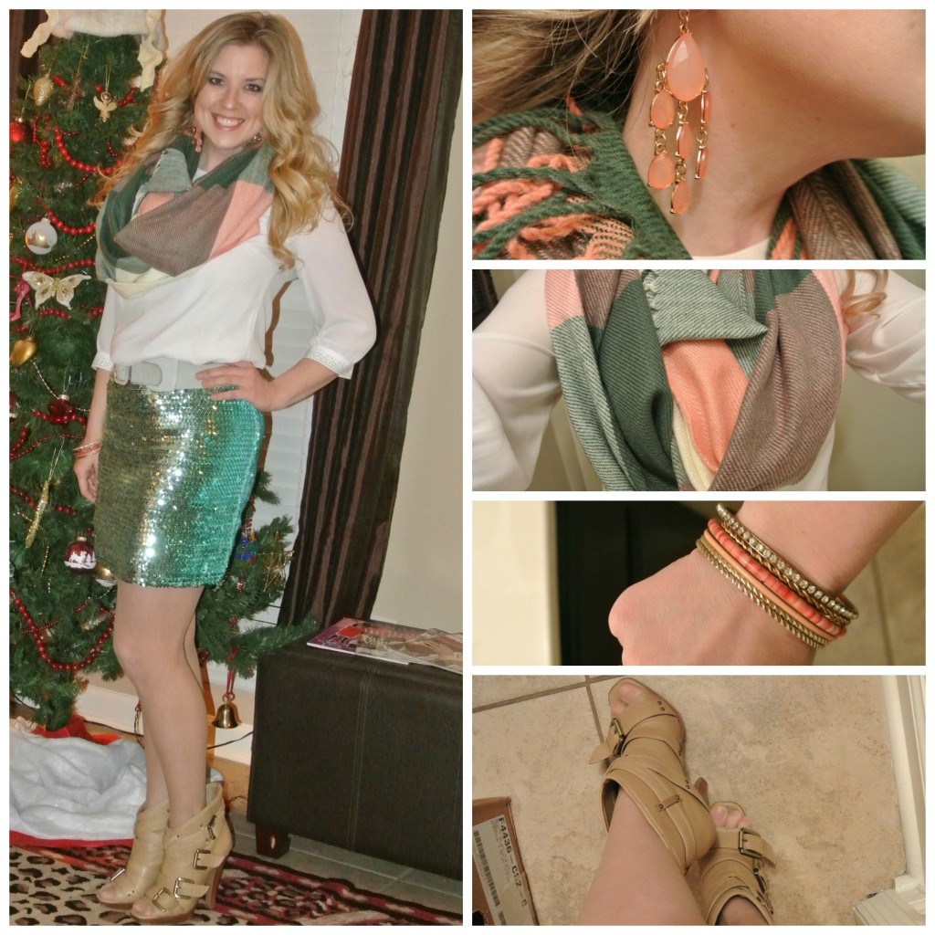 1 - sequin skirt, blanket scarf