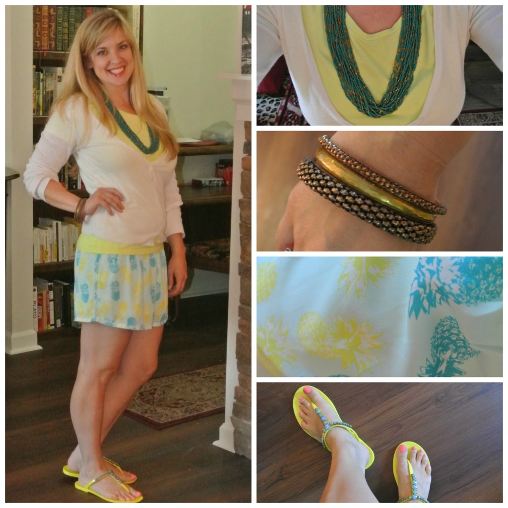 1 - pineapple shorts, white cardigan