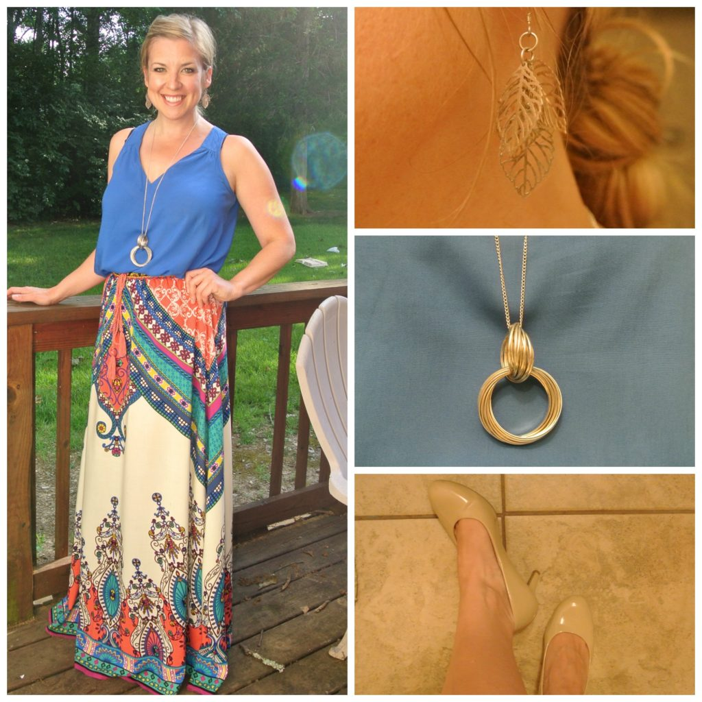 1 - blue blouse maxi skirt