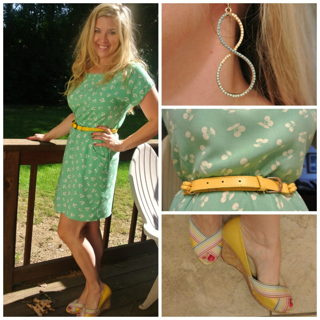 1 - mint green dress, yellow accessories