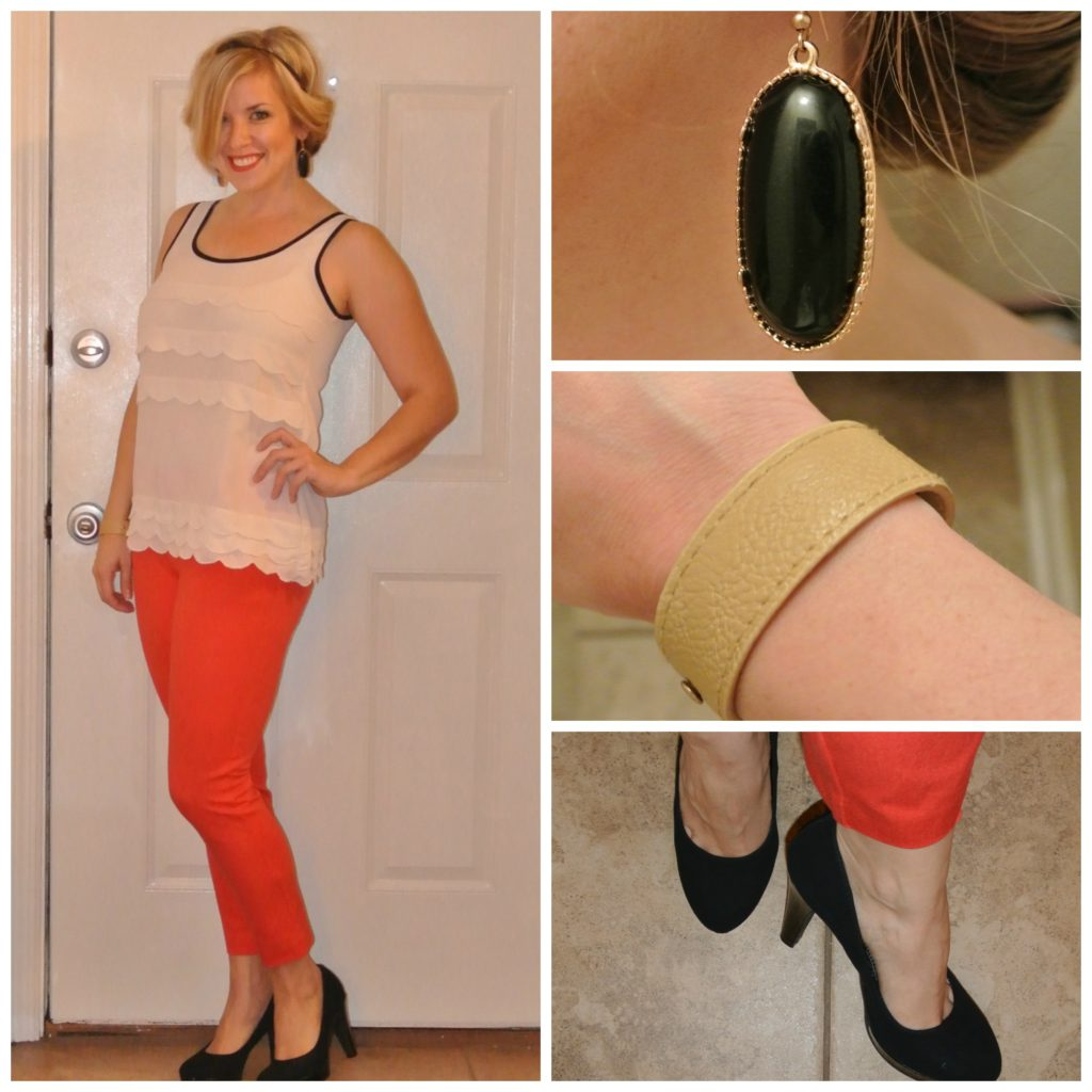1 - orange cropped pants, scalloped top