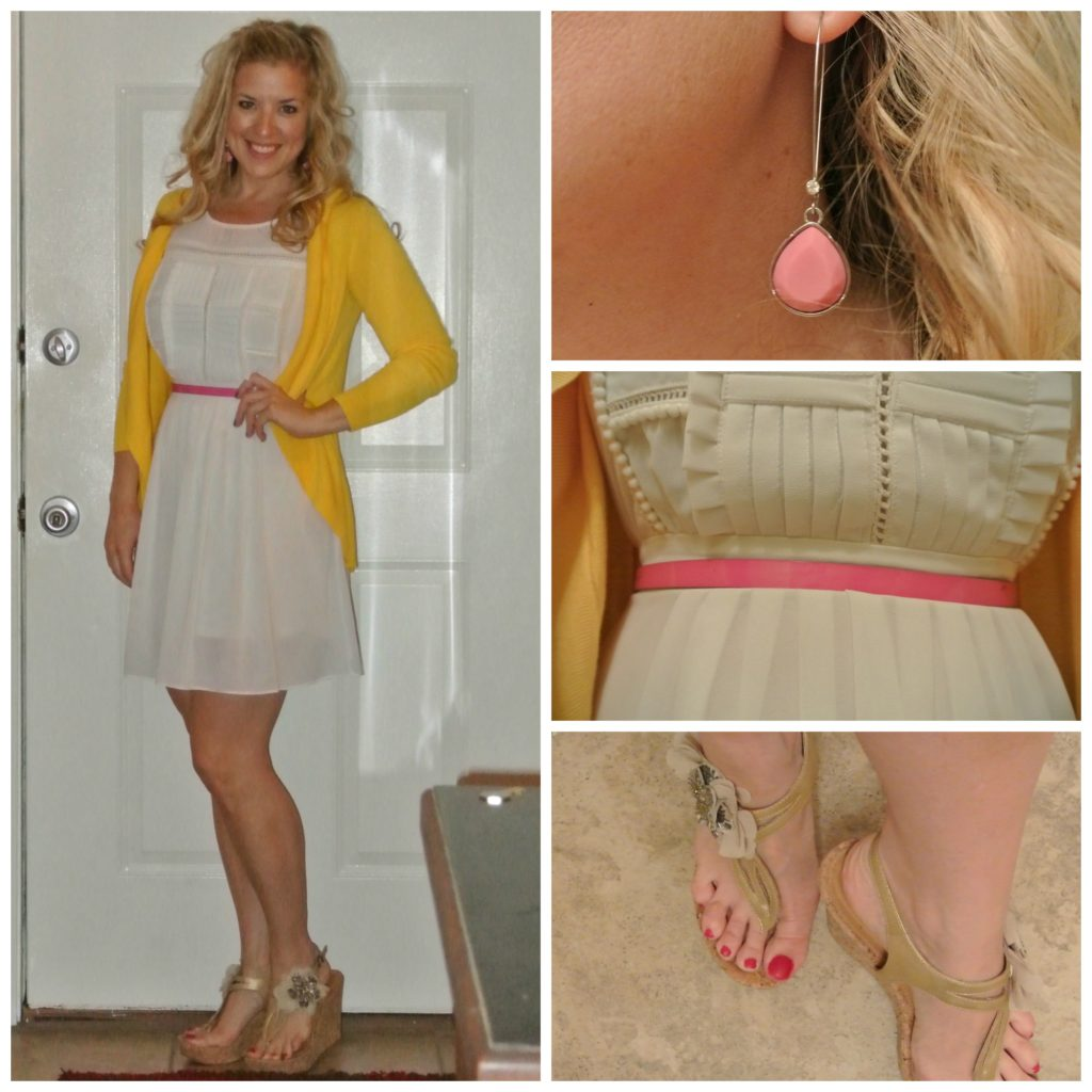 1 - yellow dress, pink belt