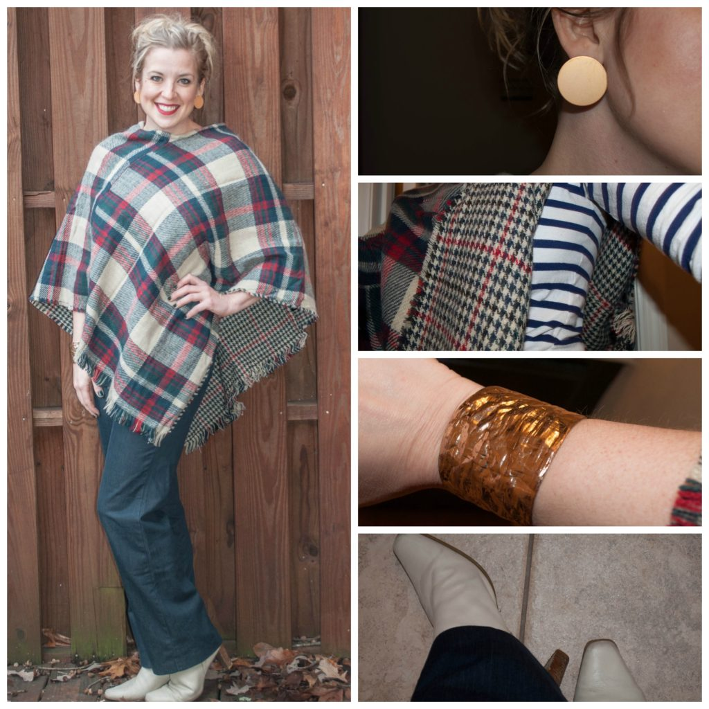 1 - plaid poncho, white boots